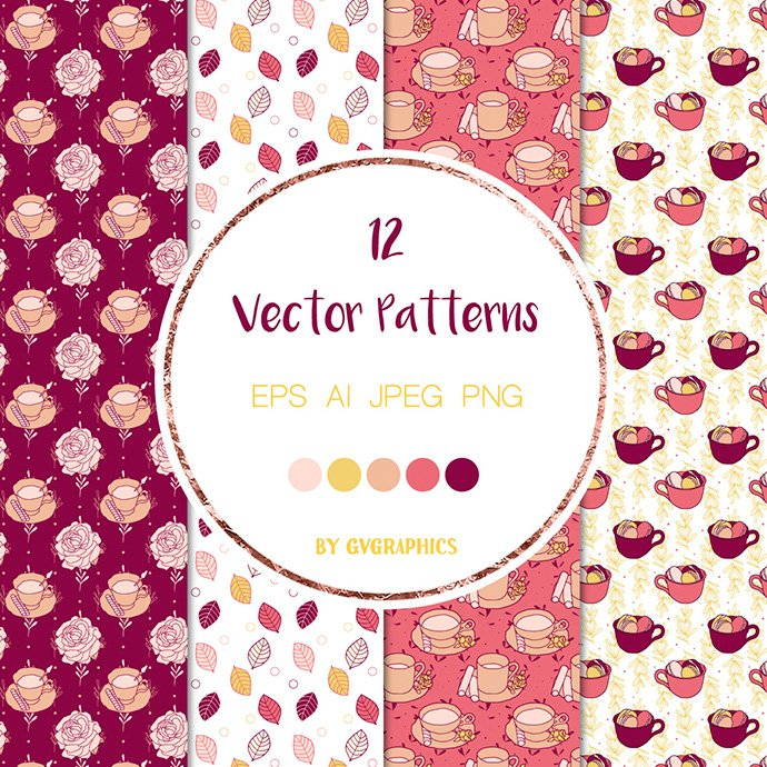 Roses, Tea Cups and Cupcakes Vector Patterns cover image.