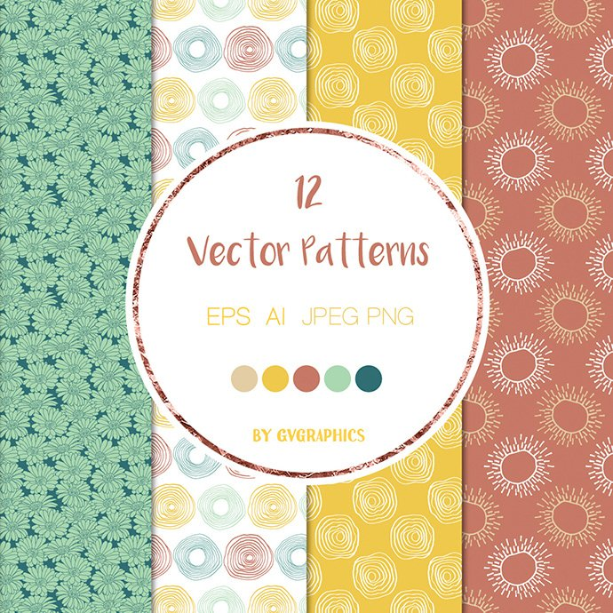 Colorful Flowers and Doodles Vector Patterns and Seamless Tiles cover image.