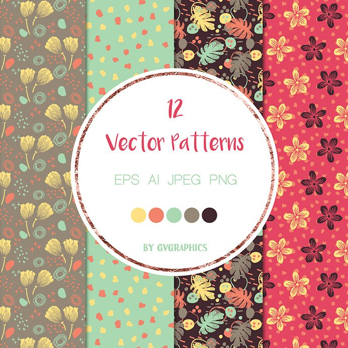 Flowers and Doodles Vector Patterns cover image.
