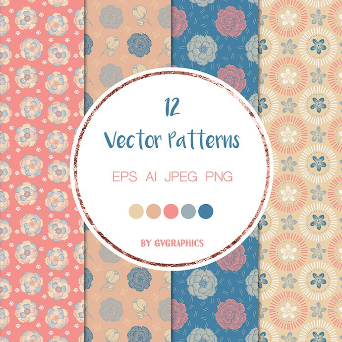 Blue and Pink Nature Vector Patterns cover image.