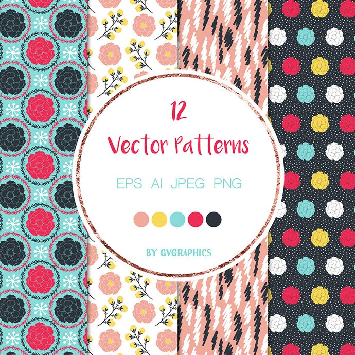 Vivid Colorful Flowers, Leaves and Doodles Vector Patterns cover image.