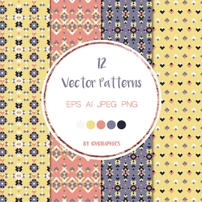Colorful Geometric Tribal Vector Patterns cover image.