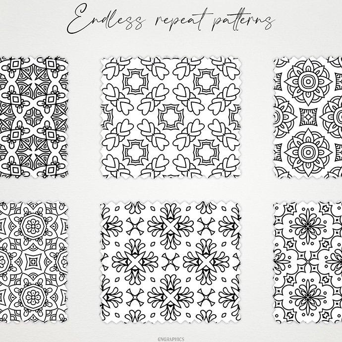 Monochrome Ornaments Vector Patterns Vol.2 cover image.