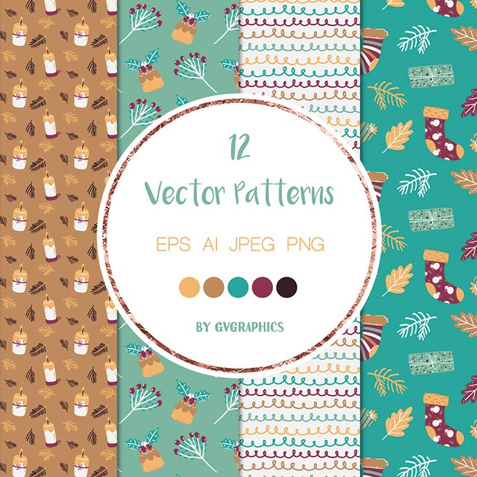 Christmas Winter Vector Patterns cover image.