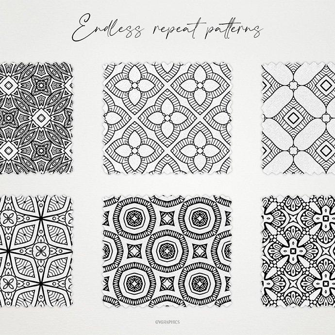 Monochrome Ornaments Vector Patterns Vol.1 cover image.
