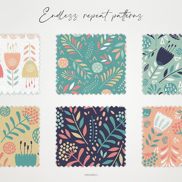 Flowers and Doodle Circles Vector Patterns cover image.