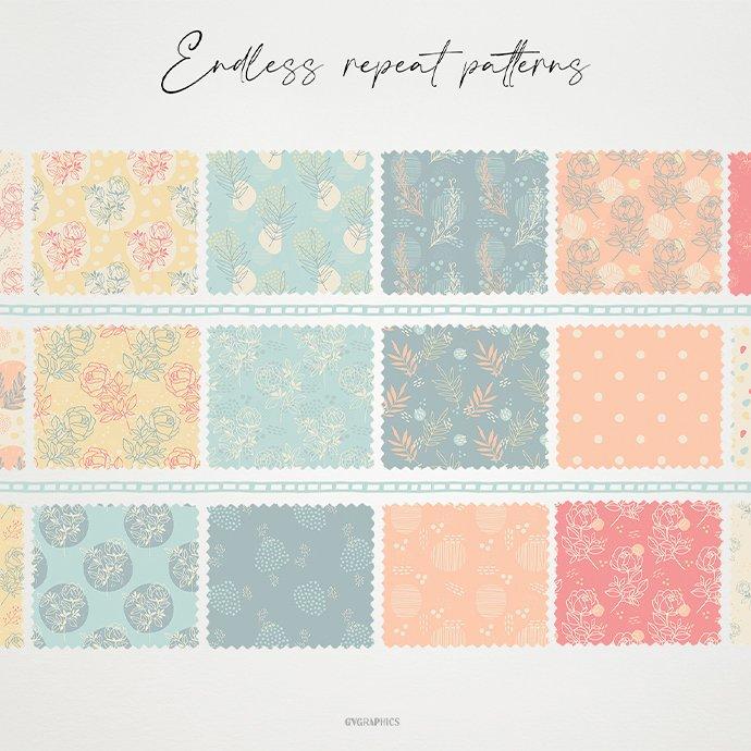 Elegant Summer Roses Vector Patterns cover image.