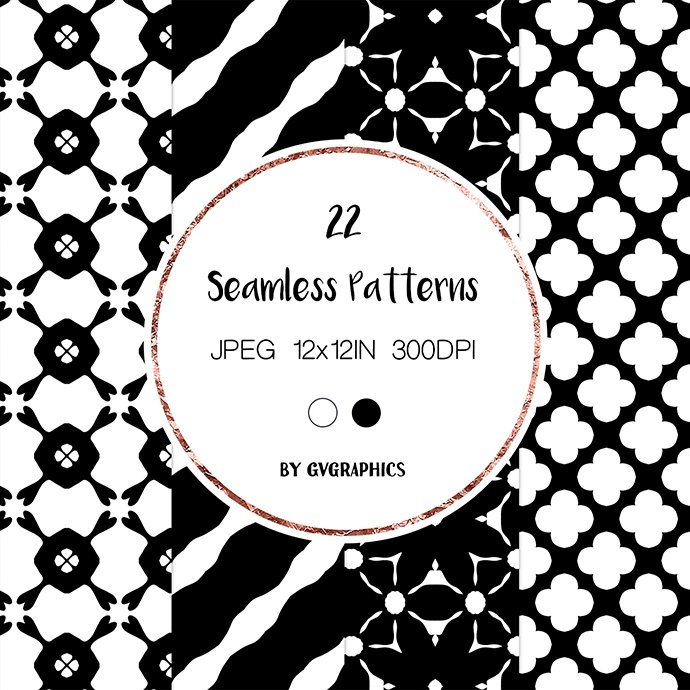 Black and White Simple Abstract Seamless Patterns cover image.