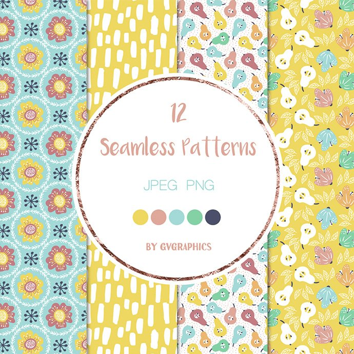 Bright Flowers and Fruits Patterns cover image.