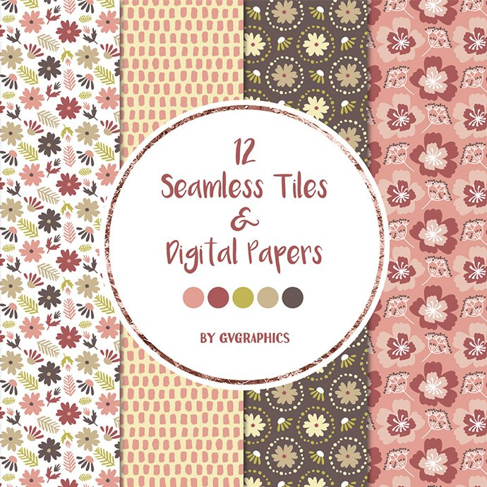 Flowers, Leaves and Spots Seamless Tiles and Digital Papers cover image.