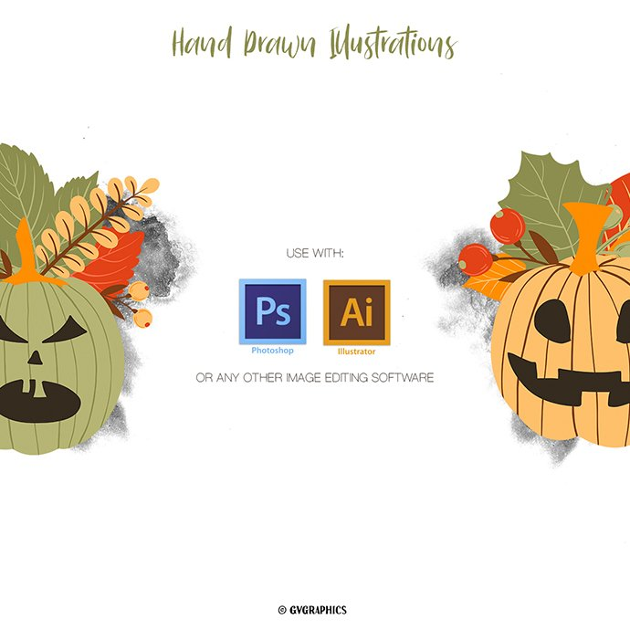 Halloween Pumpkins and Fall Leaves Vector Illustrations cover image.