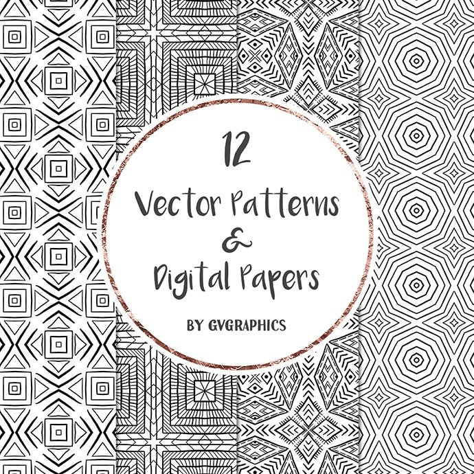 Black and White Vector Patterns and Digital Papers Set 1 cover image.