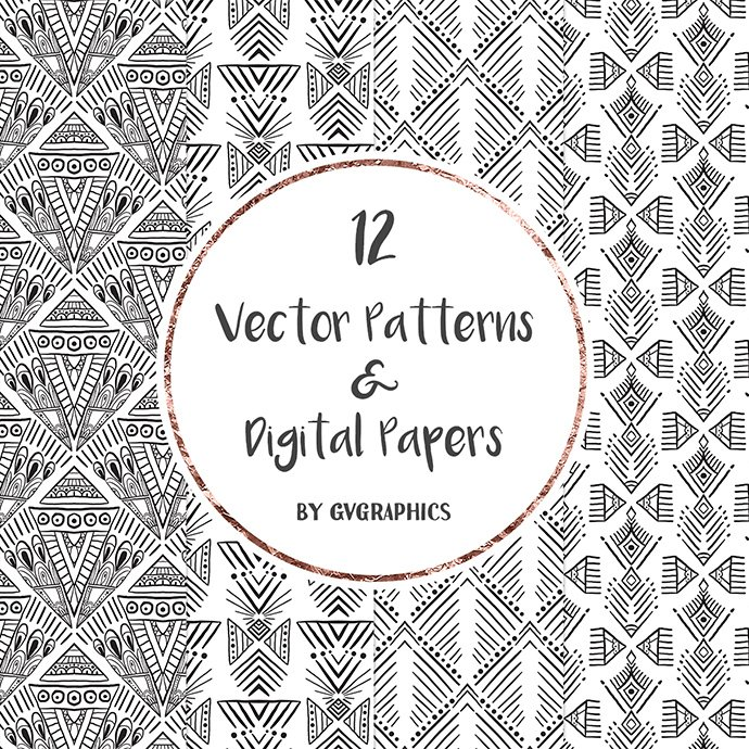 Hand Drawn Black and White Vector Patterns and Digital Papers Set 2 cover image.