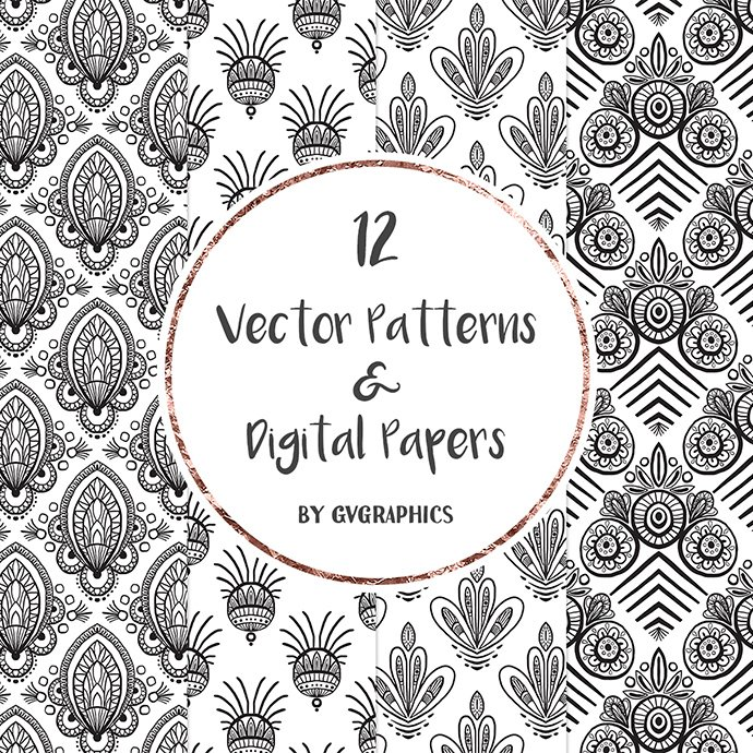 Hand Drawn Black and White Vector Patterns cover image.