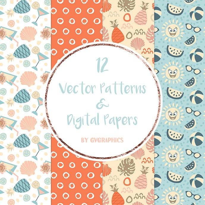 Vector Summer Patterns and Digital Papers cover image.