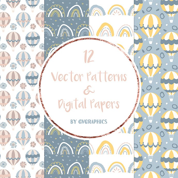 Rainbows and Air Balloons Patterns and Digital Papers cover image.