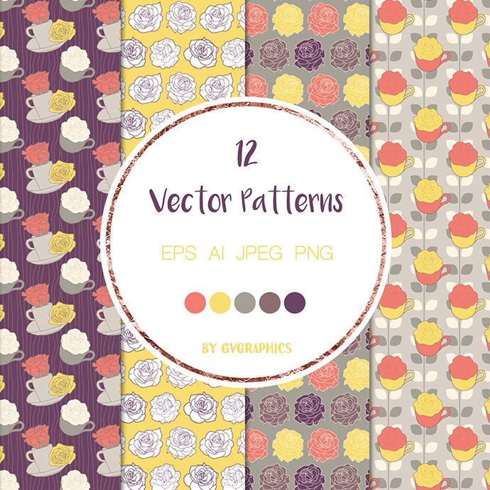 Roses and Tea Cups Vector Patterns cover image.