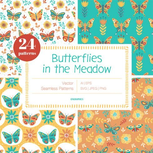 Butterflies in the Meadow Vector Patterns main cover.