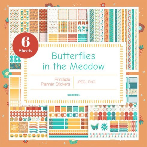 Butterflies in the Meadow Planner Stickers main cover.