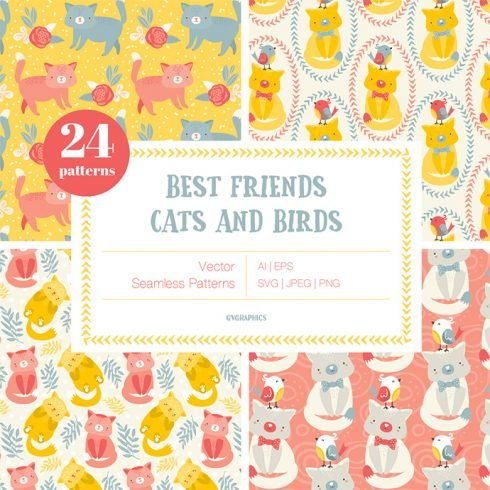 Best Friends - Cats and Birds Vector Patterns main cover.