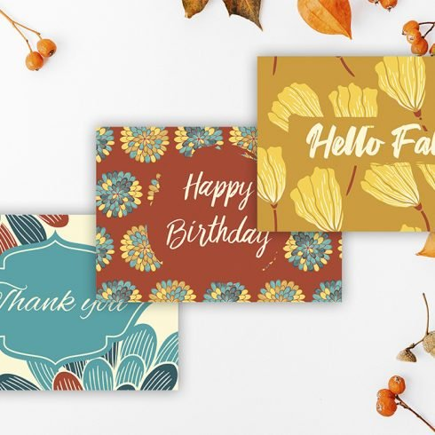 Fall Greeting Cards: Printable Thank you, Birthday and Autumn Cards main cover.
