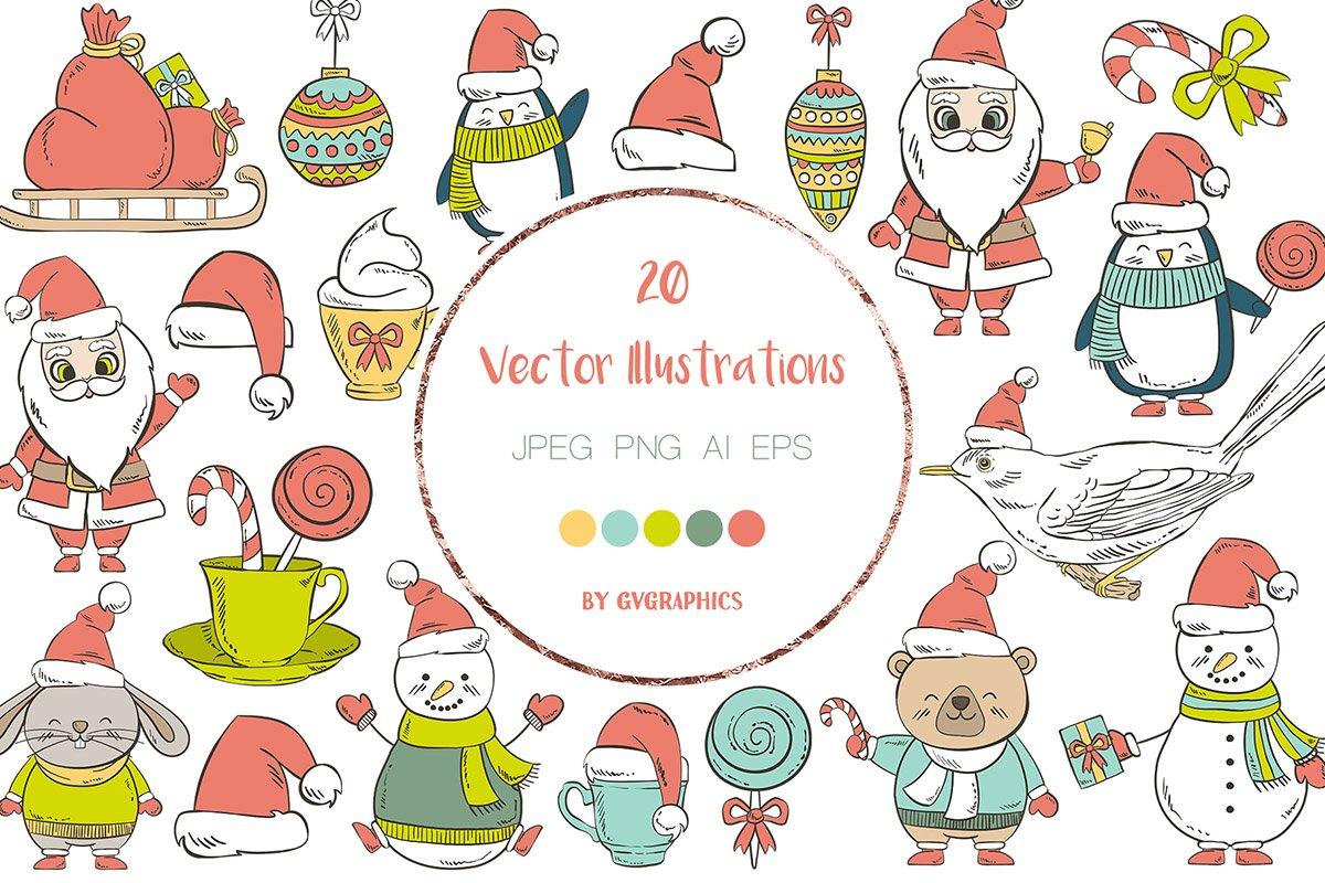 Christmas illustrated attributes.