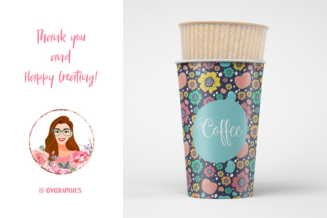Cardboard cups with floral print and mint graphics.
