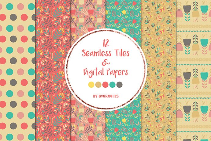 Abstract Flowers Seamless tiles and Digital papers Preview Collage Image.