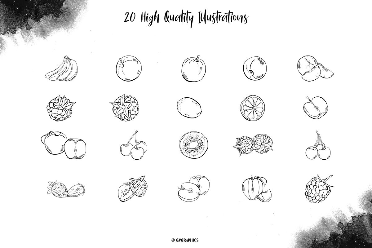 Berries and fruits drawn in pencil. They look very realistic.