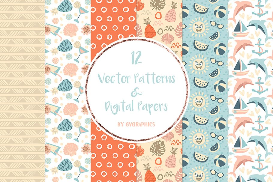 Summer pattern that symbolizes vacation and sunshine.