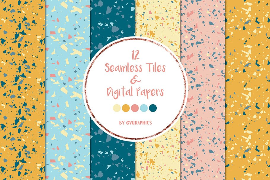 Terrazzo Digital Papers Preview.