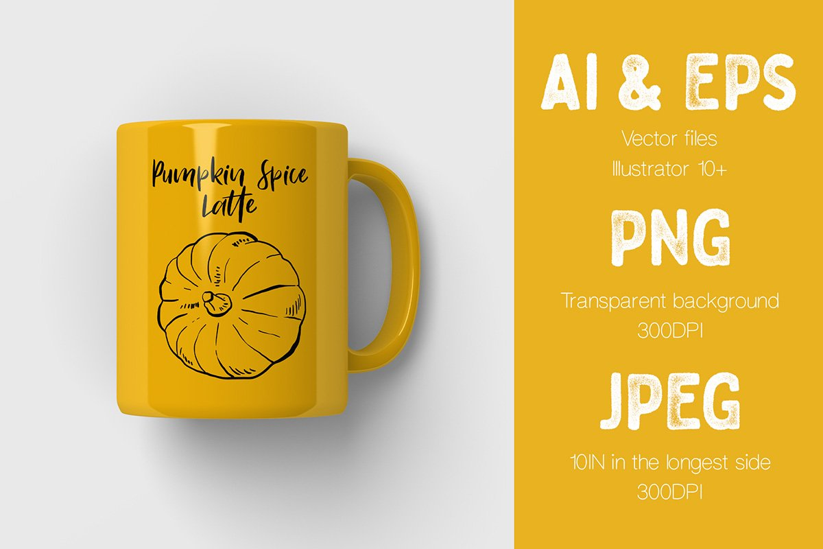 Yellow mug with yellow pumpkin and black lettering.