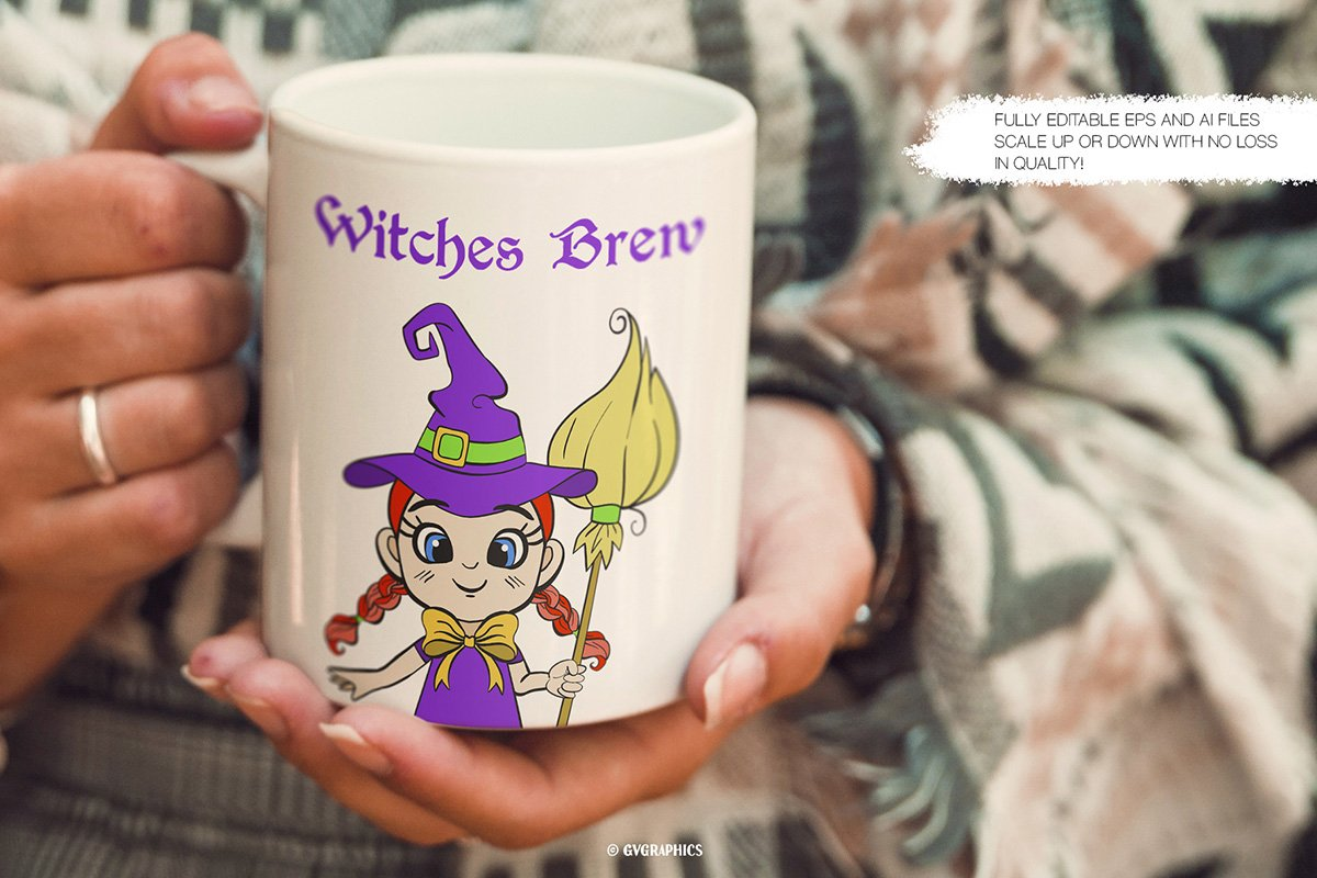 Milk mug with a kind little witch.
