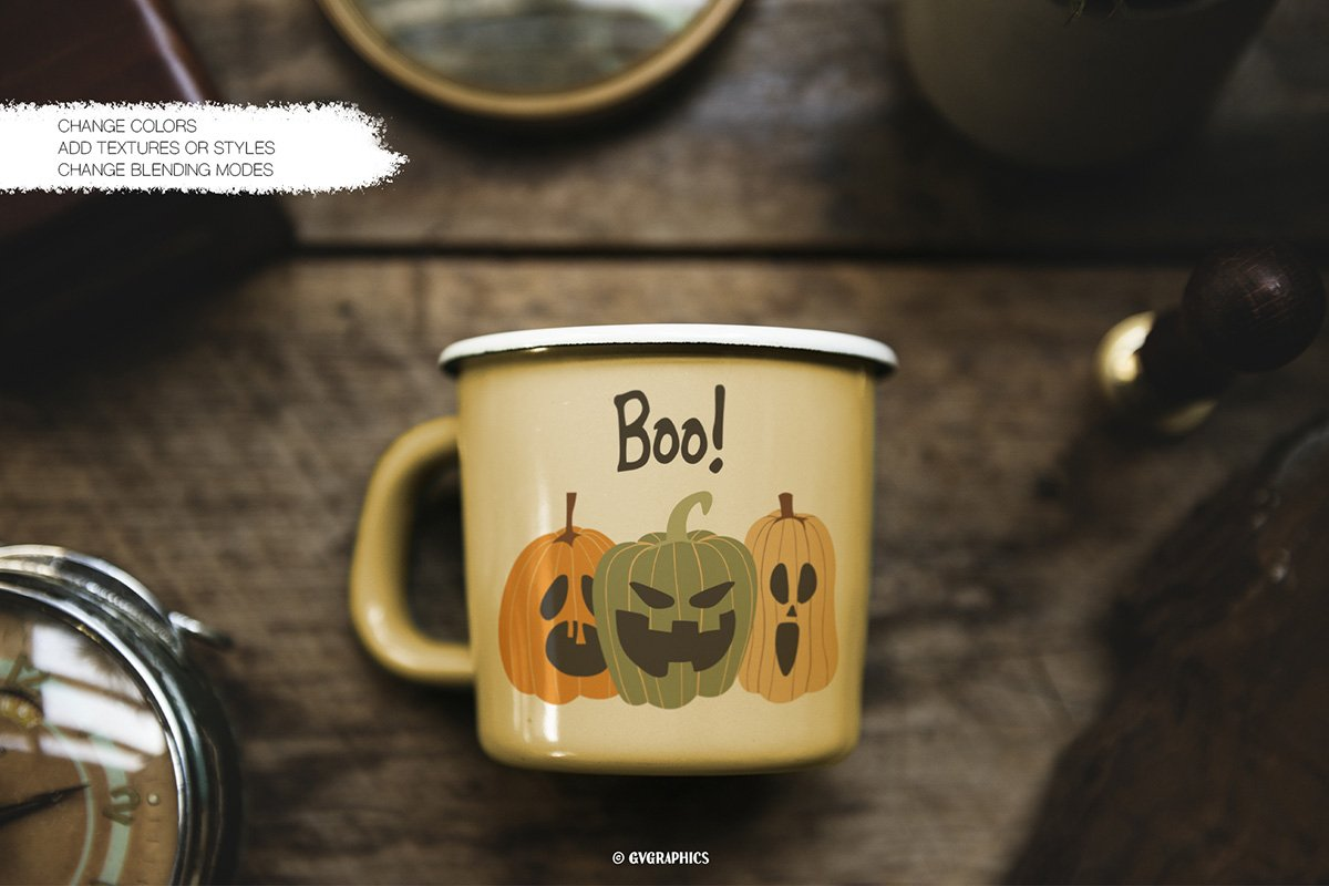 A cool olive green iron mug with a trinity of pumpkins.
