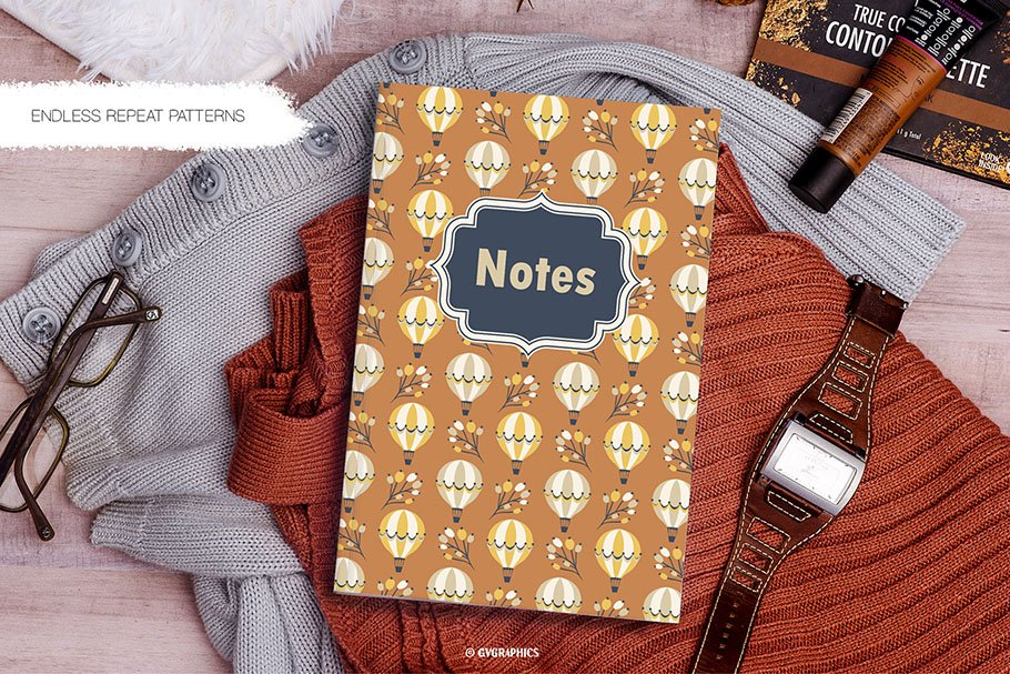 Notebook in brown color with a lot of air balloons.