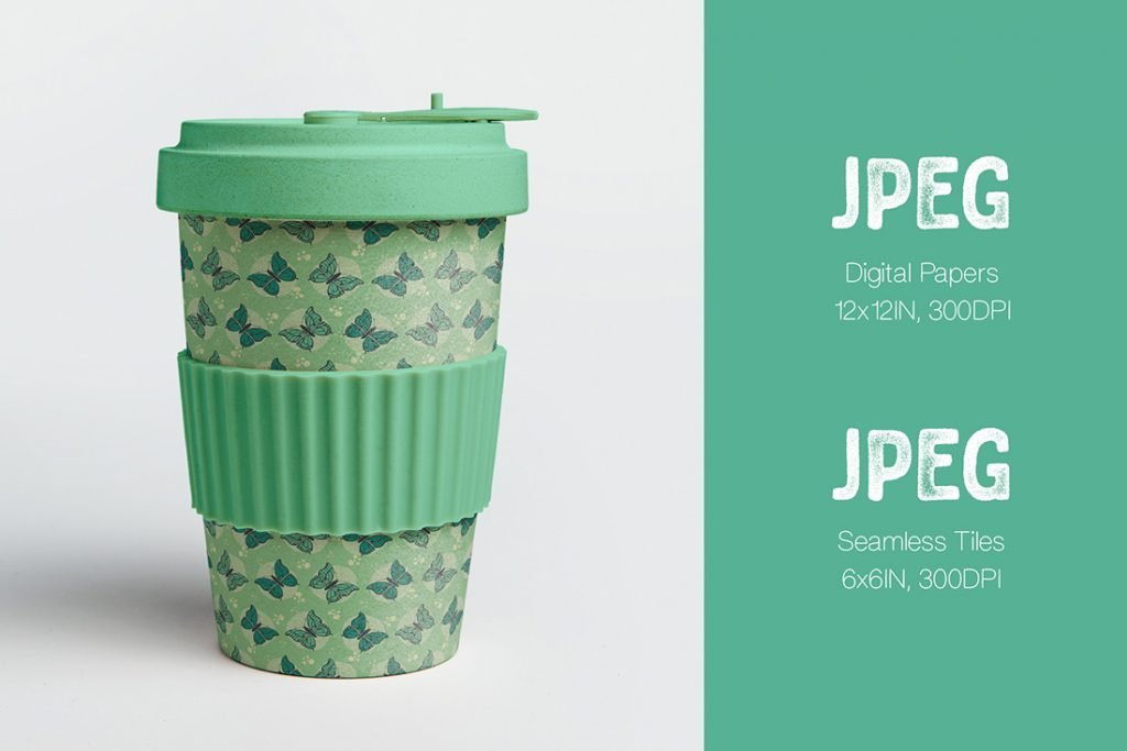 Cup with Green Seamless Tiles.