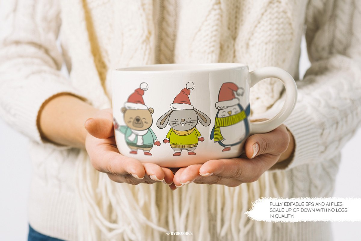 Large white cup with animals dressed in winter outfits.