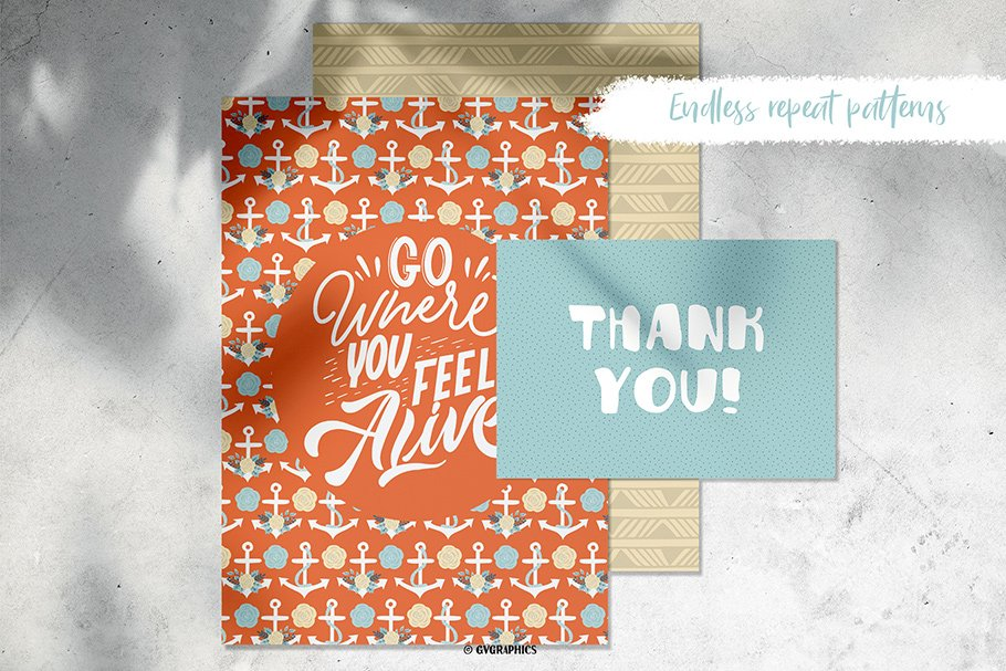 Bright orange card with anchors.