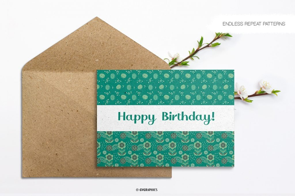 Green and Blue Flowers on Greeting Card.