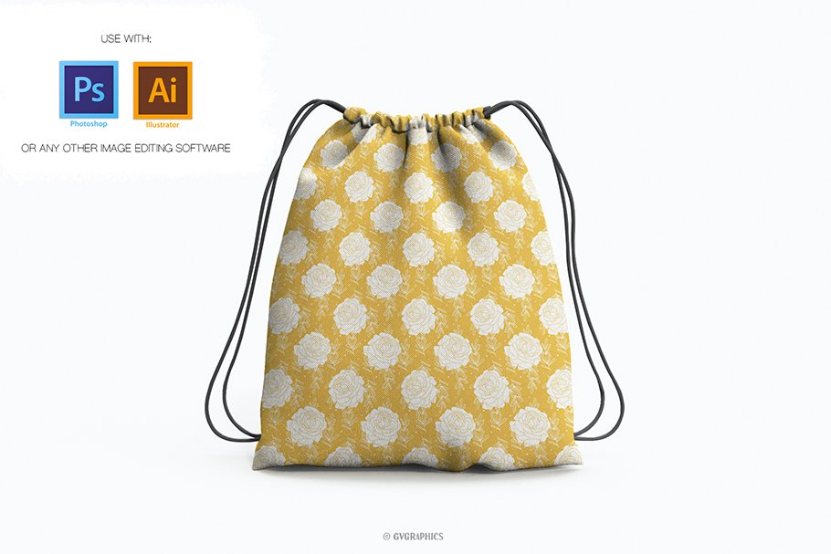 Yellow bag with white roses.