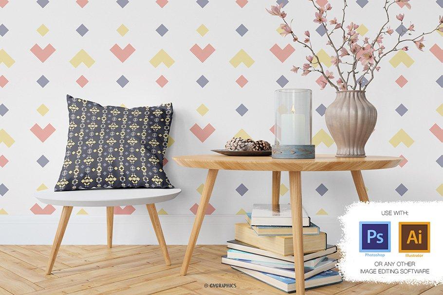 Wallpaper with multicolored geometrics.