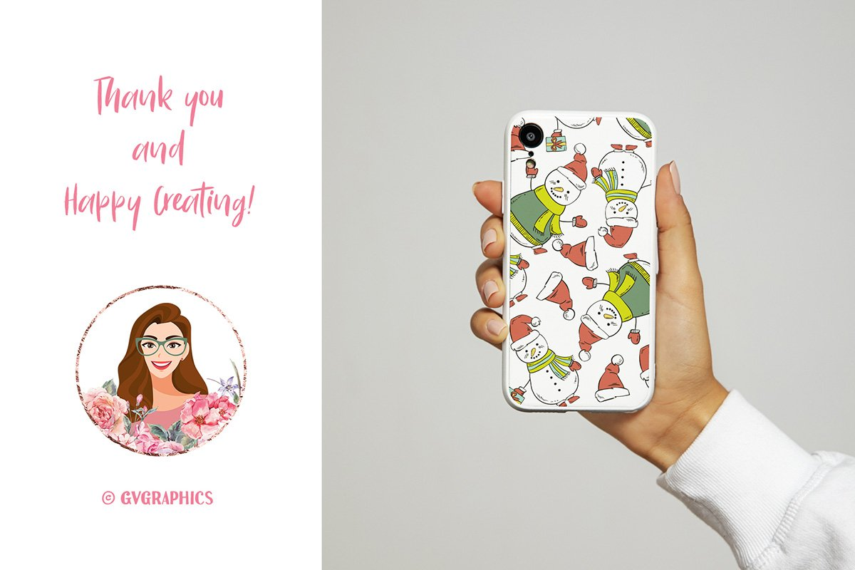 Christmas phone case with snowmen.