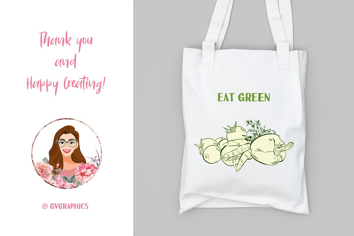 White eco-friendly bag with pictured eco-friendly vegan set.