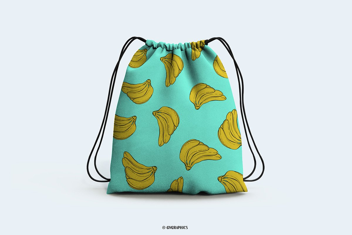 Green backpack with a groat of bananas.