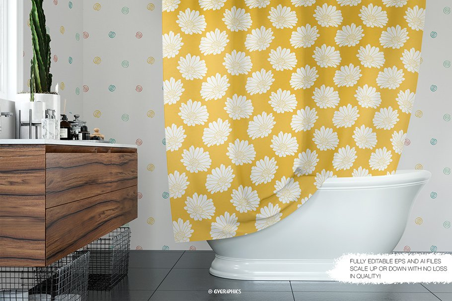 Yellow bath curtain with white large flowers.