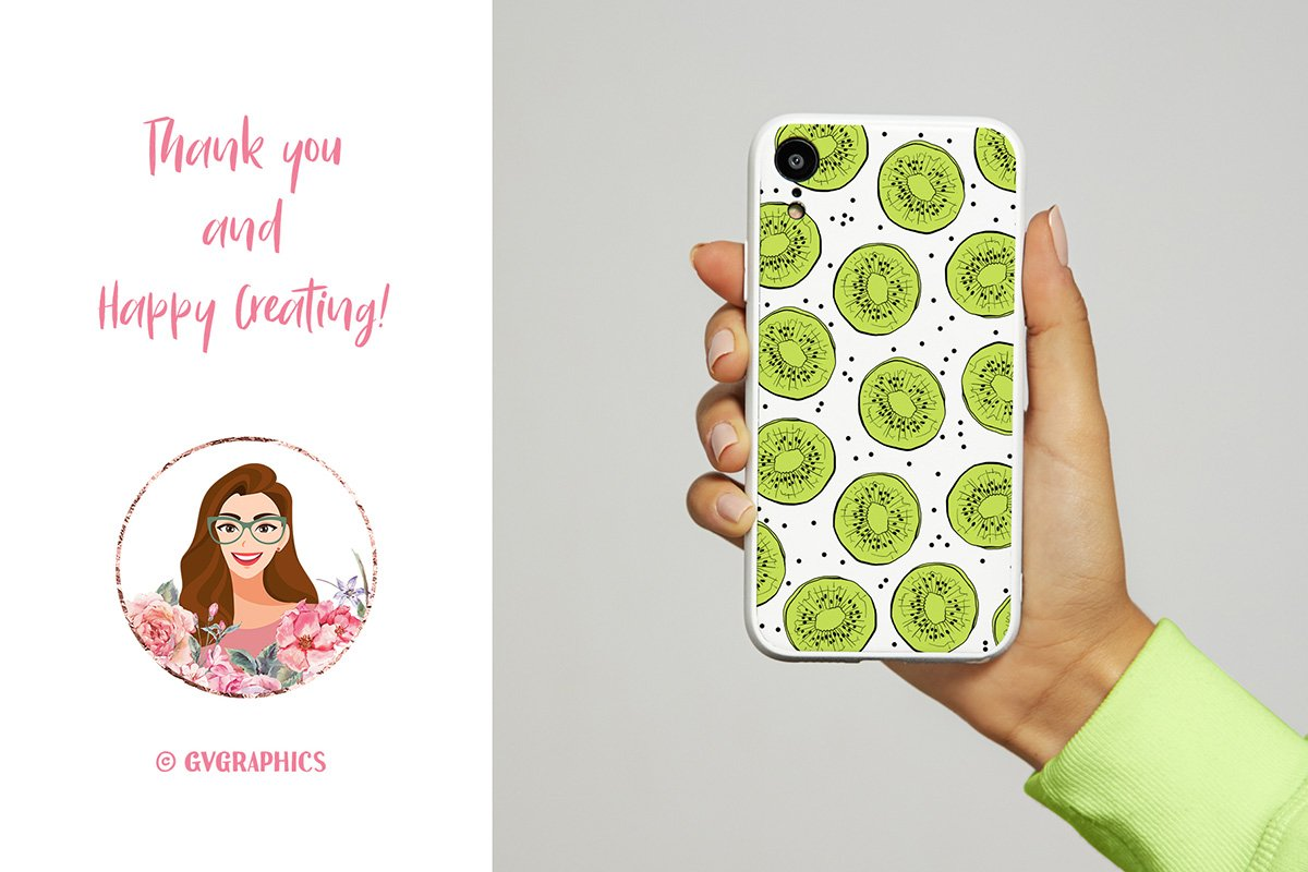 Fresh and creative phone case with kiwi slices.
