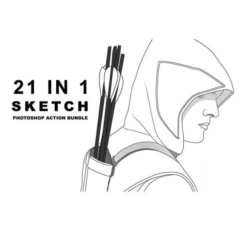 Realistic 21 Sketch Photoshop Action Bundle Example.