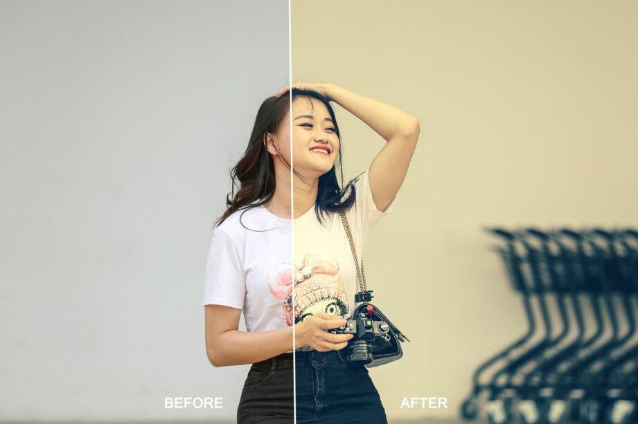 An Asian woman relaxed as a photographer.
