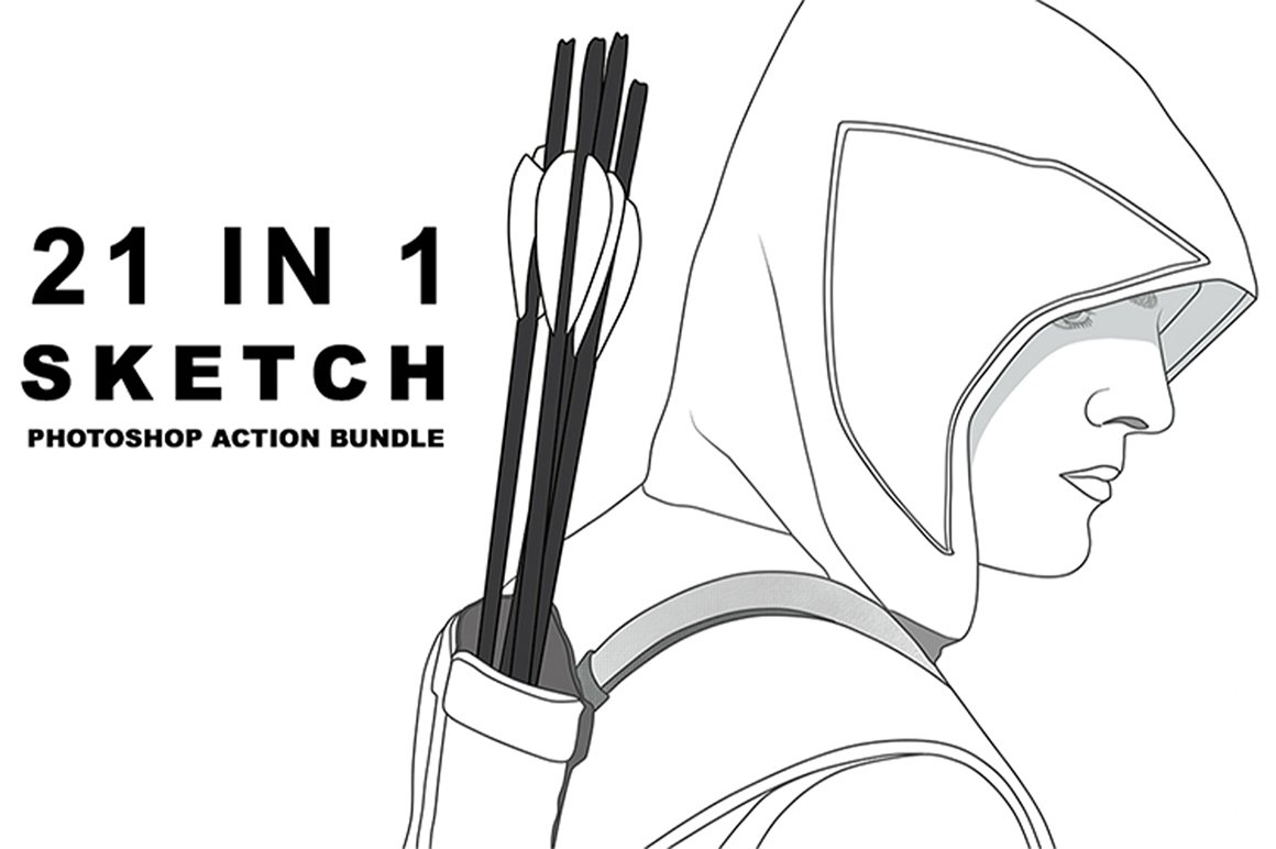 Realistic 21 Sketch Photoshop Action Bundle.