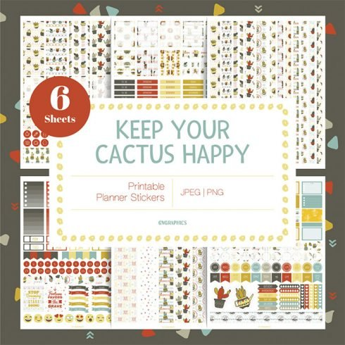 Keep Your Cactus Happy Planner Stickers main cover.